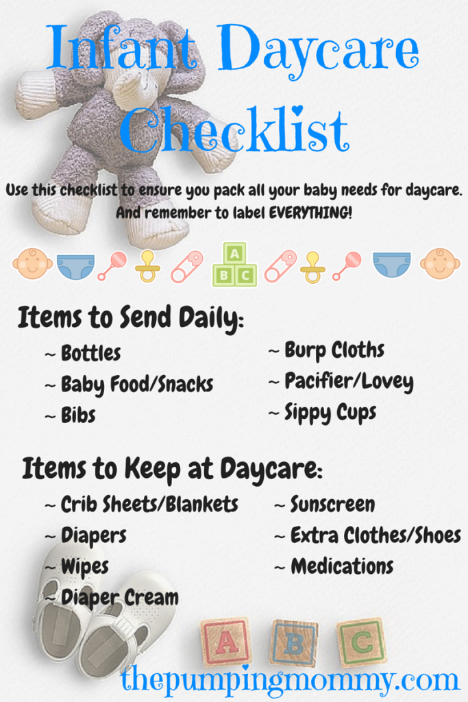 Infant Daycare Checklist What To Pack And Label The Pumping Mommy